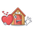 with heart dog house isolated on mascot cartoon vector image
