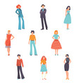 young people in beautiful vintage dresses and vector image