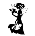Woman with fan in long dress vector image