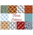 Floral decorative patterns set vector image