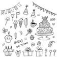 hand drawn birthday doodles vector image