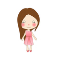 Cute Girl in Pink Dress vector image