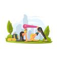 girls practice yoga in park vector image