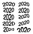 2020 year date cartoon numbers comic style vector image vector image