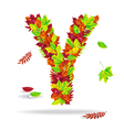 autumn letters with drops water vector image vector image
