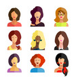 avatars business women flat icons set isolated on vector image vector image