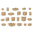 big set of isometric cardboard boxes isolated on vector image
