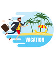businessman travels from winter to summer to a vector image vector image