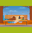 cartoon homeless people flat composition vector image