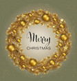 christmas wreath with gold pine branches vector image vector image