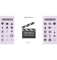 clapperboard icon symbol - graphic elements for vector image