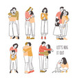 collection of pairs of hugging or cuddling people vector image vector image
