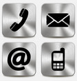 Contact us icons on metallic buttons vector image vector image