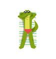 crocodile sunbathing on the beach cute animal vector image vector image