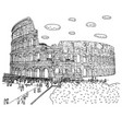 crowd tourist visiting colosseum vector image vector image