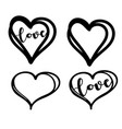 doodle heart with hand drawn lettering vector image vector image