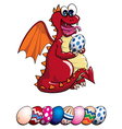Dragon and Easter Eggs vector image