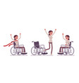 female young wheelchair user in positive emotions vector image vector image