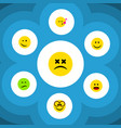 flat icon face set of cross-eyed face wonder vector image vector image