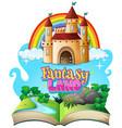 font design for word fantasy lan with castle vector image