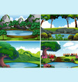 four background scenes with pond in the park vector image vector image