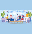 friends resting in fashion lounge bar with hookah vector image