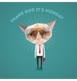 Funny sad cat - thank Got its monday vector image vector image