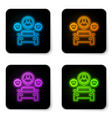 glowing neon car sharing with group people vector image vector image
