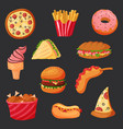 greasy fast or junk food snack hot dog and fries vector image