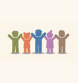 group of children holding hands icon graphic vector image vector image