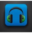 Headphone symbol icon on blue vector image vector image