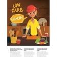 healthy food cartoon woman cooking in modern vector image