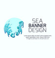 horizontal banner with violent sea waves cut out vector image