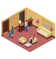 isometric hotel reception template vector image