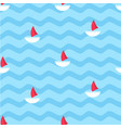 marine seamless pattern with sailboats vector image