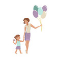 mother and daughter walking at the park vector image