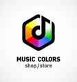 Music colors logo template Colorful hex sign vector image vector image