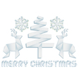 Origami Christmas design elements vector image