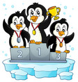 penguin winners theme image 2 vector image vector image