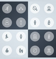 person icons line style set with jogging old vector image