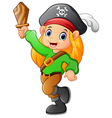 pirate girl holding wooden sword vector image vector image