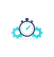 productivity icon with stopwatch and gears vector image vector image