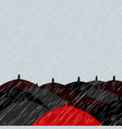 red umbrella and many black umbrellas background vector image