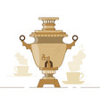russian national samovar tea and waterboiler vector image vector image