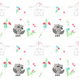 seamless pattern with cute animals couples vector image