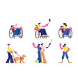 set disabled people lifestyle male and female vector image
