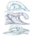 set hand drawn sea waves in sketch style vector image
