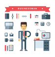 Set of Icons and in Flat Design Style Male Cartoon vector image