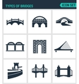 Set of modern icons Types of bridges vector image vector image