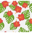 Set of tropical palm leaves and flowers hibiscus vector image vector image